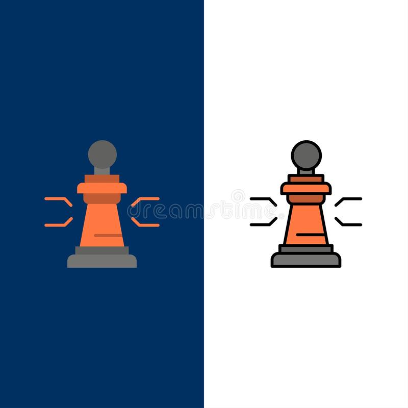 Chess, Advantage, Business, Figures, Game, Strategy, Tactic  Icons. Flat and Line Filled Icon Set Vector Blue Background stock illustration