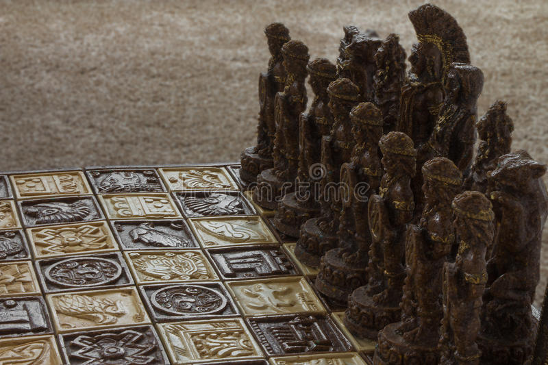 Chess battle against entire army of opponents with empty board a. Nd massive number of enemies with copy space royalty free stock image