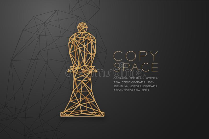 Chess Bishop wireframe Polygon golden frame structure, Business strategy concept design illustration. Isolated on black gradient background with copy space vector illustration