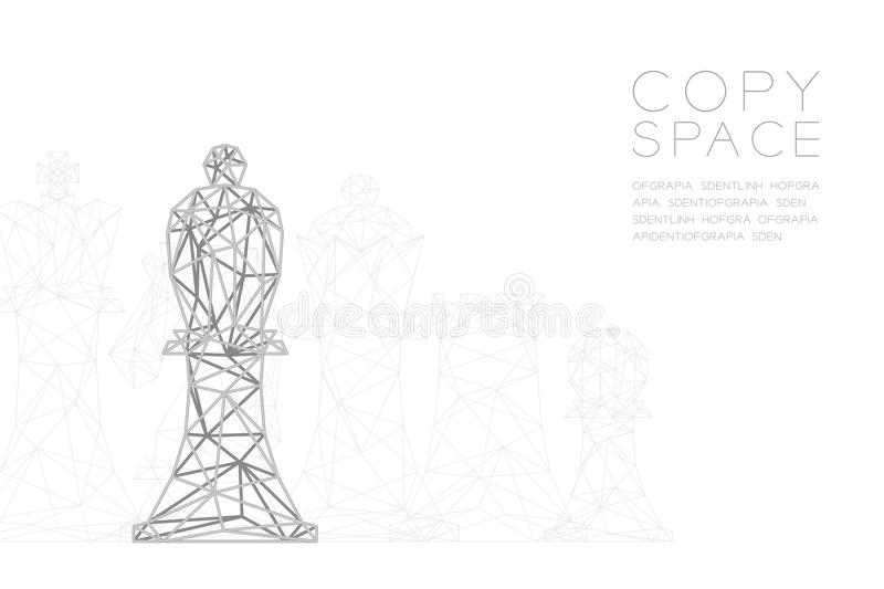 Chess Bishop wireframe Polygon silver frame structure, Business strategy concept design illustration vector illustration