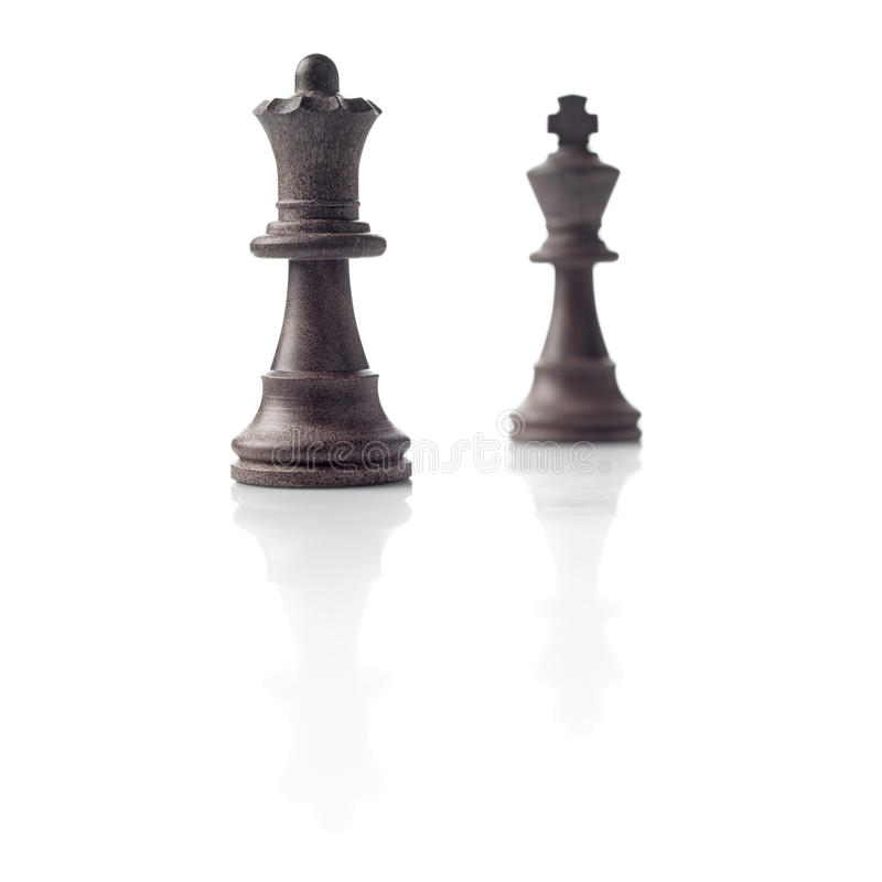 Chess. Black Queen and King, leadership concept