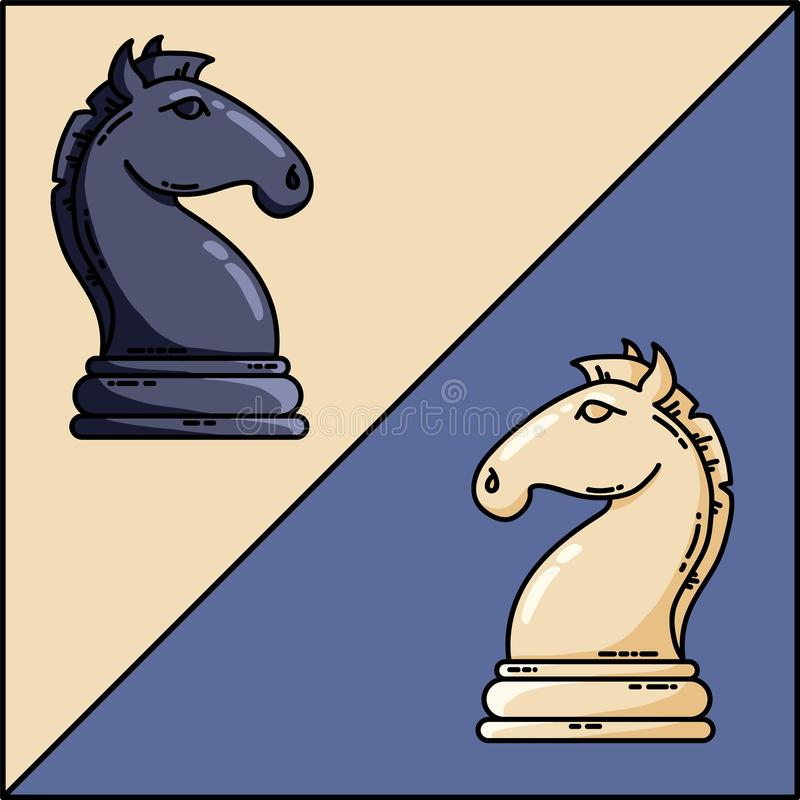 Chess black and white knights vector flat vector image stock illustration