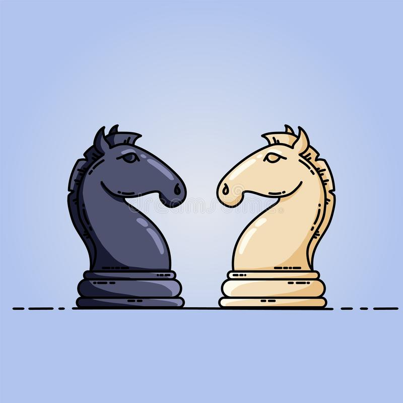 Chess black and white knights vector flat image. Vector image on blue background stock illustration