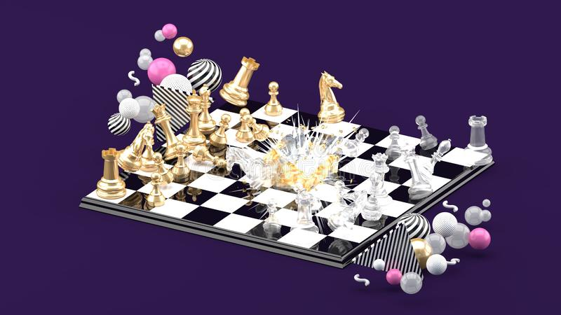 Chess Blast Among the colorful balls on the purple background. stock illustration