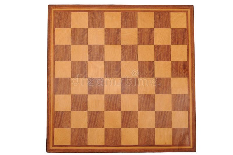 Chess Board. Photographed directly virticaly shpot in studio and isolated on white royalty free stock photography