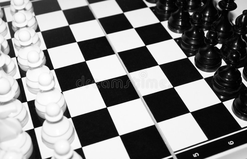 Chess board. With chess in black and white royalty free stock photography