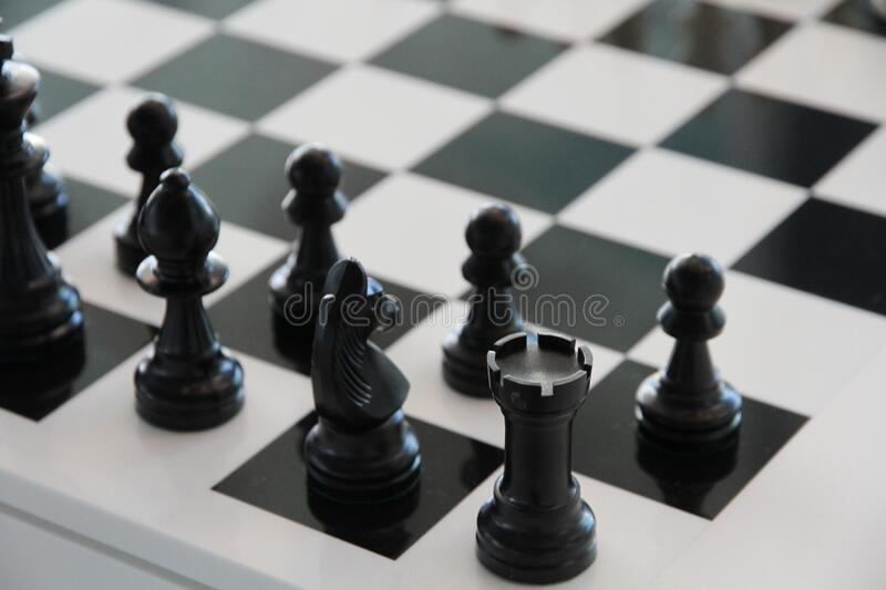 Chess board in black and white stock photo