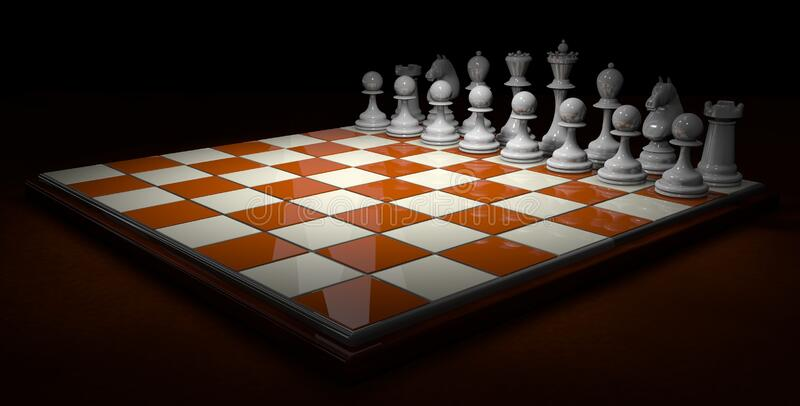 Chess board with bright brown and white squares with white pieces on a dark brown surface on a black background. 3D Illustration royalty free illustration
