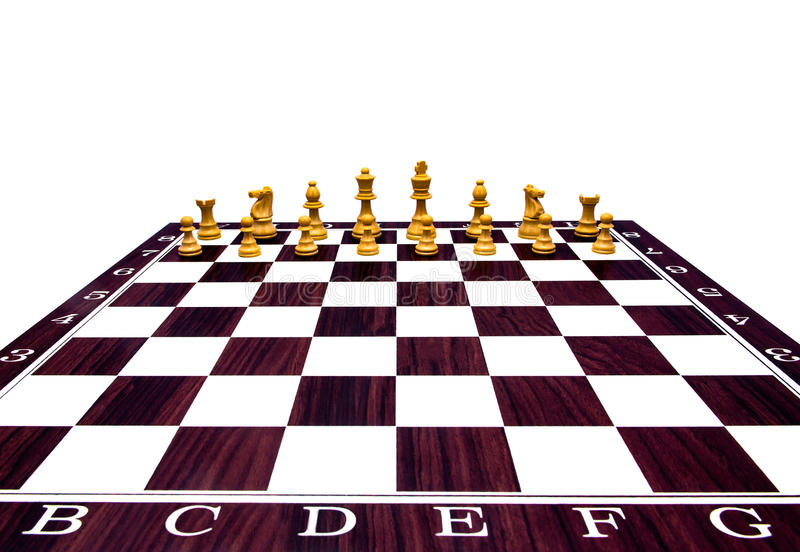 Chess board with figures. On isolated white background stock images