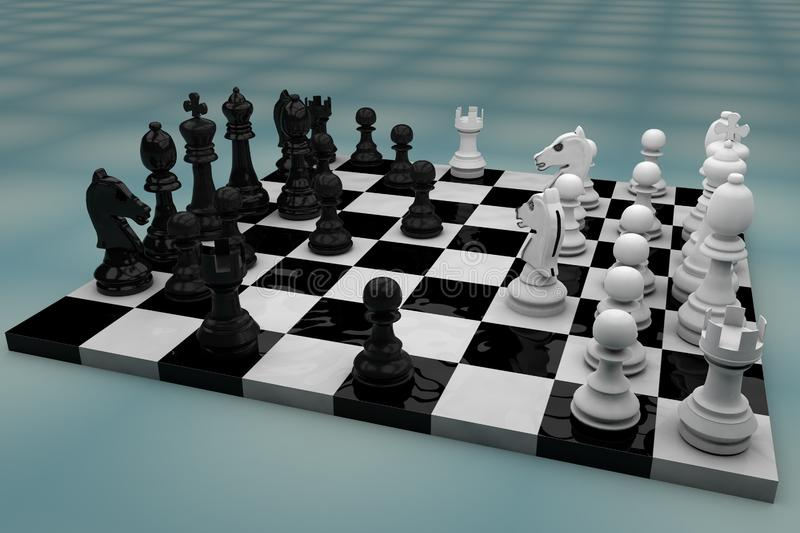 Chess board with figures modeled stock photos