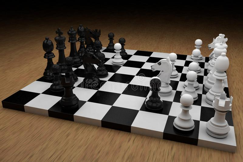 Chess board with figures stock photo