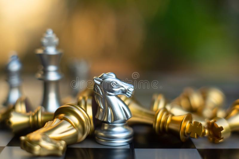 Chess board game, business competitive concept royalty free stock photos