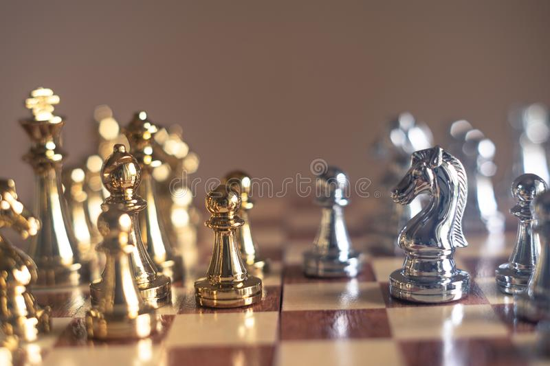 Chess board game, business competitive concept. Copy space advantage boss competition confront disadvantage down encounter enemy fight finance king knight royalty free stock images