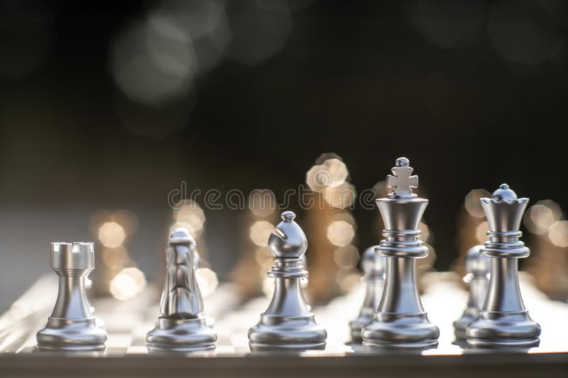 Chess board game, business competitive concept. Copy space, victory, king, success, competition, power, market, defeat, object, teamwork, chessboard, opponent stock images