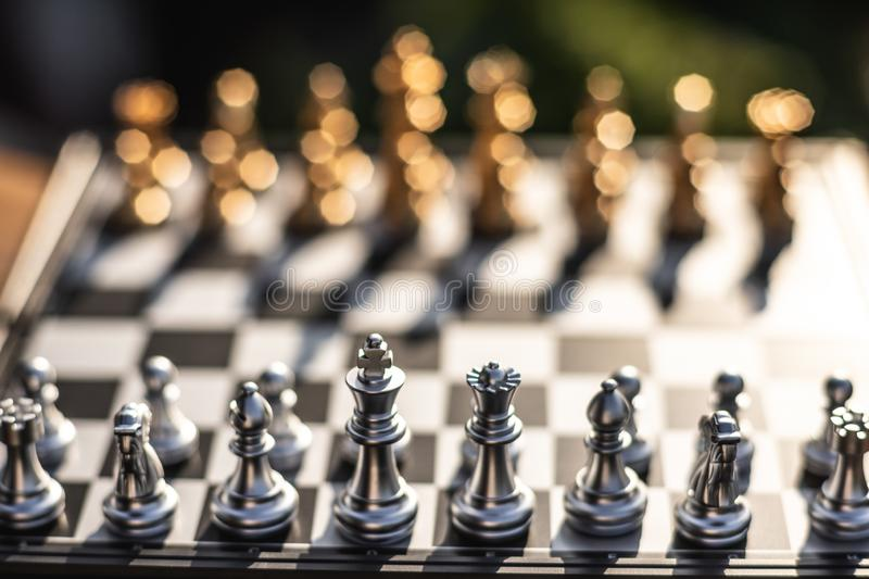 Chess board game, business competitive concept. Copy space, victory, king, success, competition, power, market, defeat, object, teamwork, chessboard, opponent royalty free stock photos