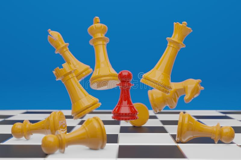 Chess board game, business competitive concept, copy space 3D. Rendering royalty free illustration