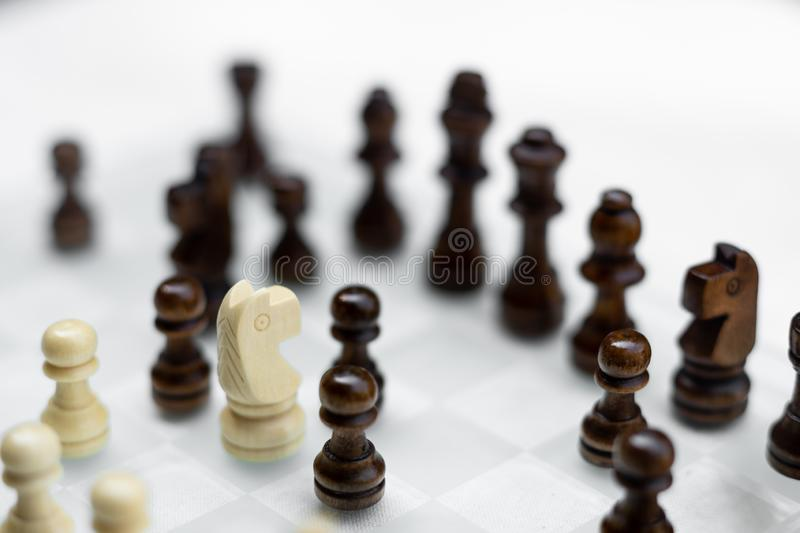 Chess board game, business competitive concept, encounter difficult situation, losing and winning. Copy space, corporate, group, queen, offense, success royalty free stock photography