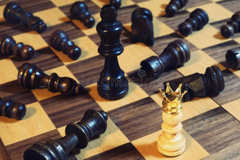 Chess board game, business competitive concept, king encounters difficult situation. Copy space royalty free stock images