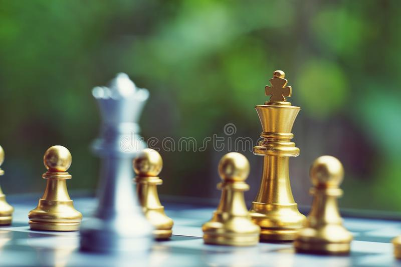 Chess board game, business competitive concept stock photography