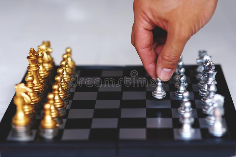 Chess board game, business competitive concept, strong financial capital advantage situation. Winner and loser stock photo