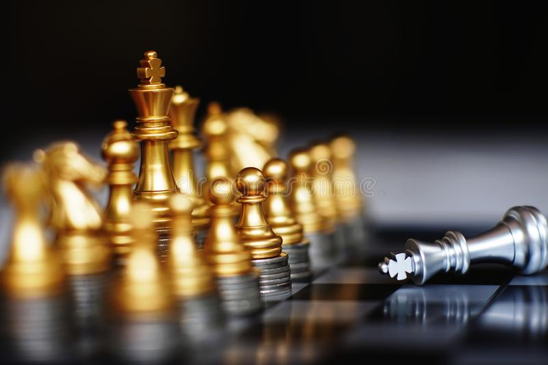 Chess board game, business competitive concept, strong financial capital advantage situation. Copy space royalty free stock images