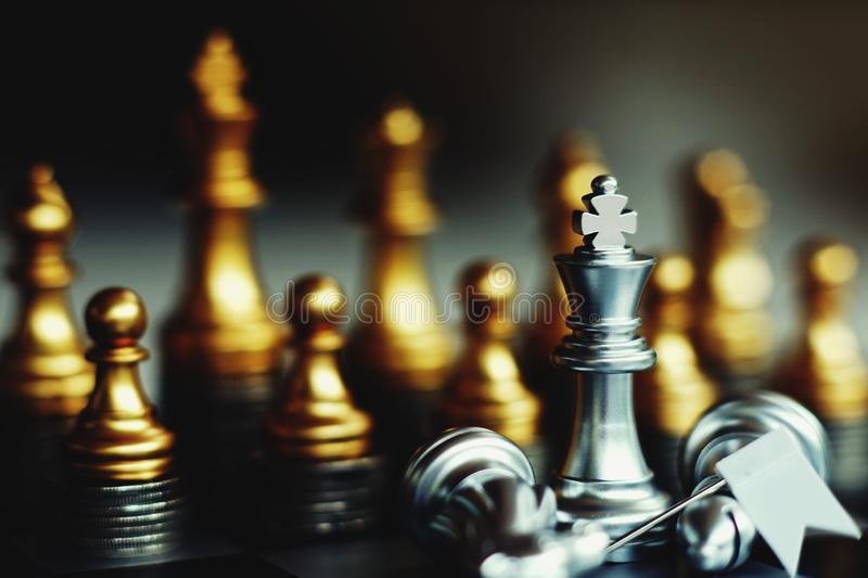 Chess board game, business competitive concept, strong financial capital advantage situation. Winner and loser stock images
