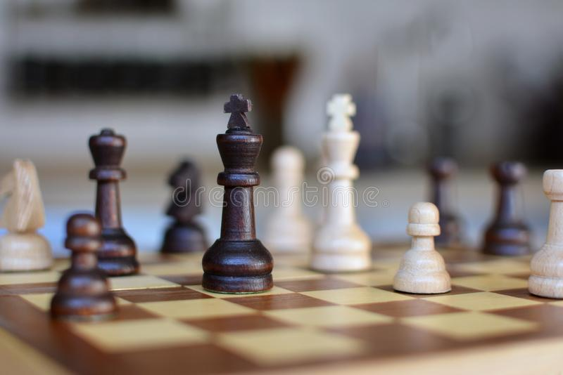Chess board game with focus on black and white queen pieces on blurry background royalty free stock photography