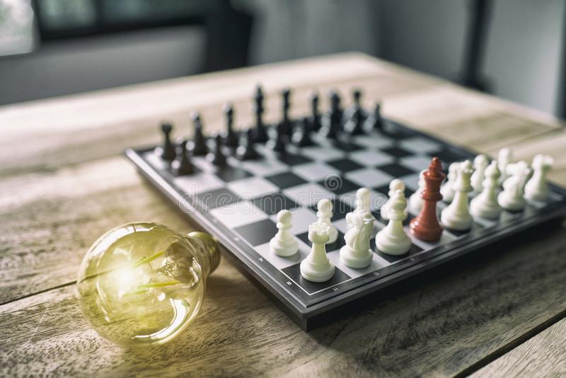 chess board game for ideas and competition and strategy, business success concept stock photo