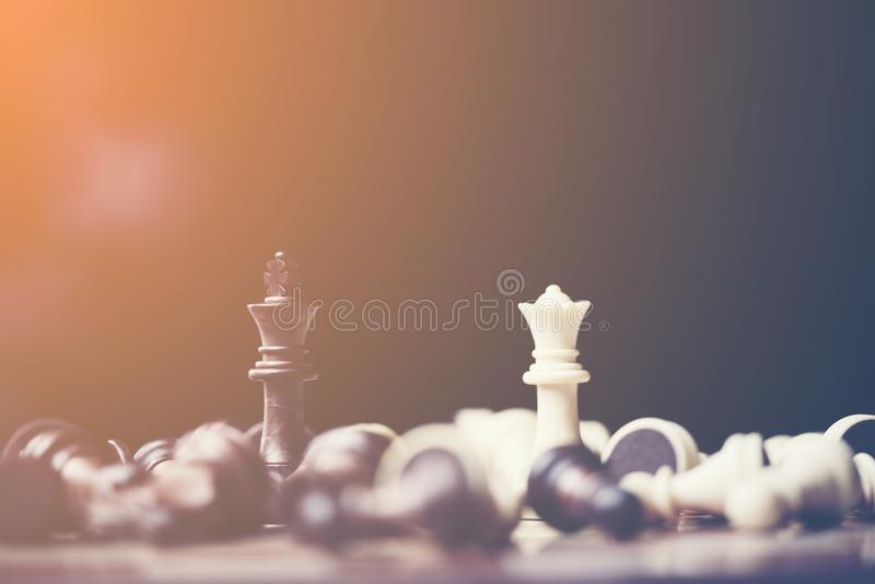 chess board game for ideas and competition and strategy, business success concept stock image