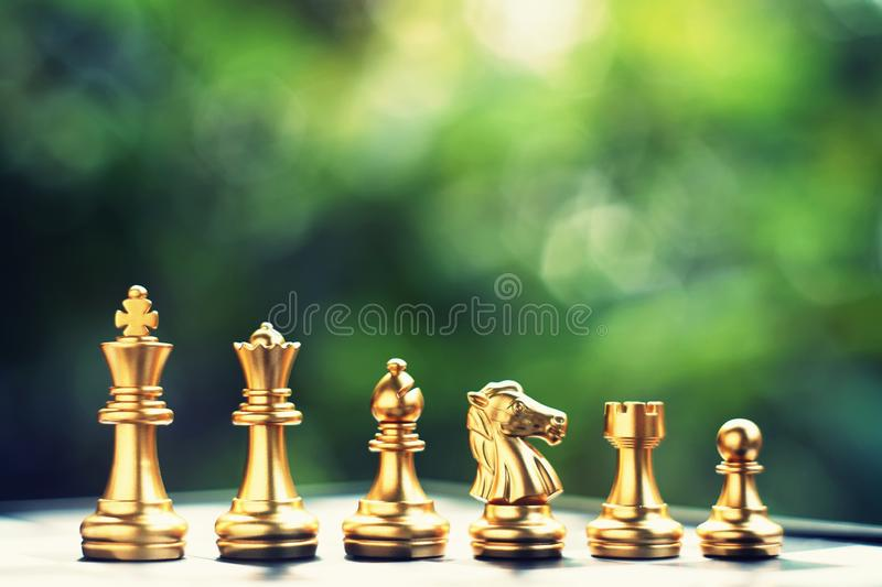 Chess board game. Ranking position of team. Business competitive and strategy planning concept. Copy space royalty free stock photo