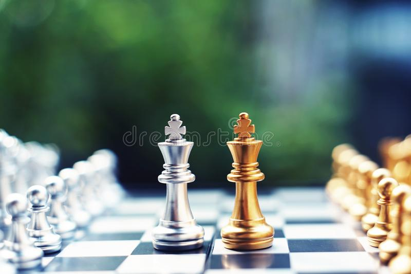 Chess board game, winner winning situation, encounter serious enemy, business competitive concept. Copy space victory checkmate king success offense royalty free stock photos