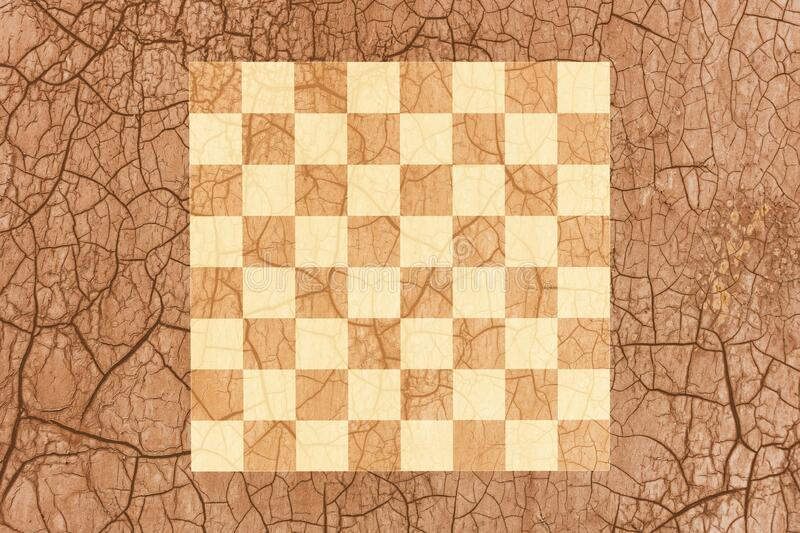 Chess Board on old paper.  stock images
