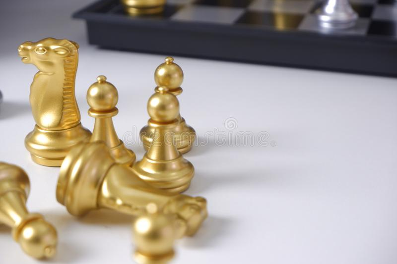 Chess board, playing chess game on white table ; for business strategy, leadership and management concept stock image