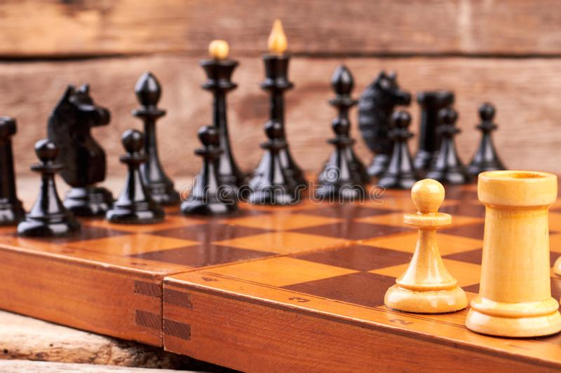 Chess board on table. stock photography