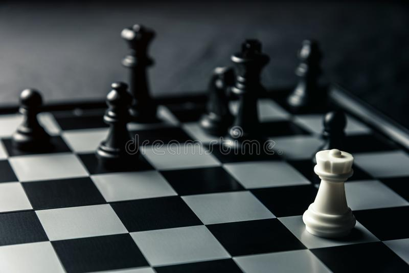 Chess board. White rook threatens black opponent`s chess royalty free stock photo