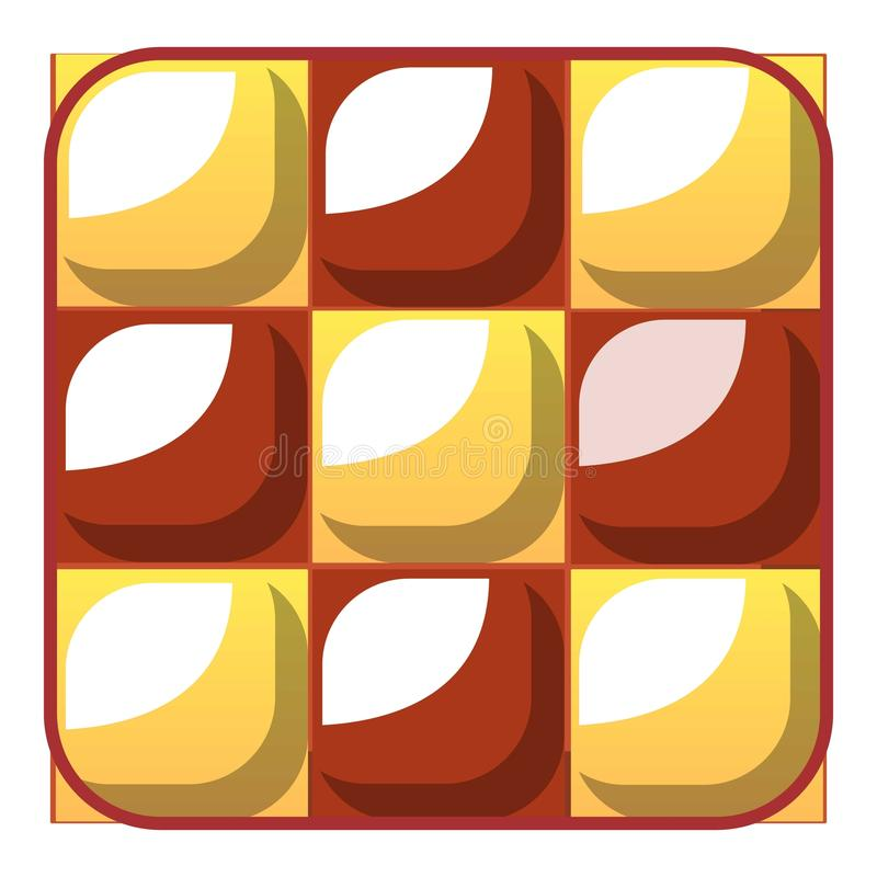 Chess cake icon, cartoon style stock illustration