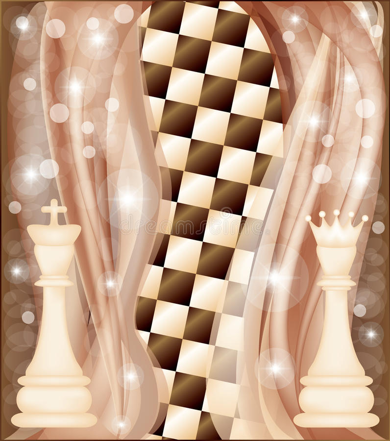 Chess card with king and queen royalty free illustration