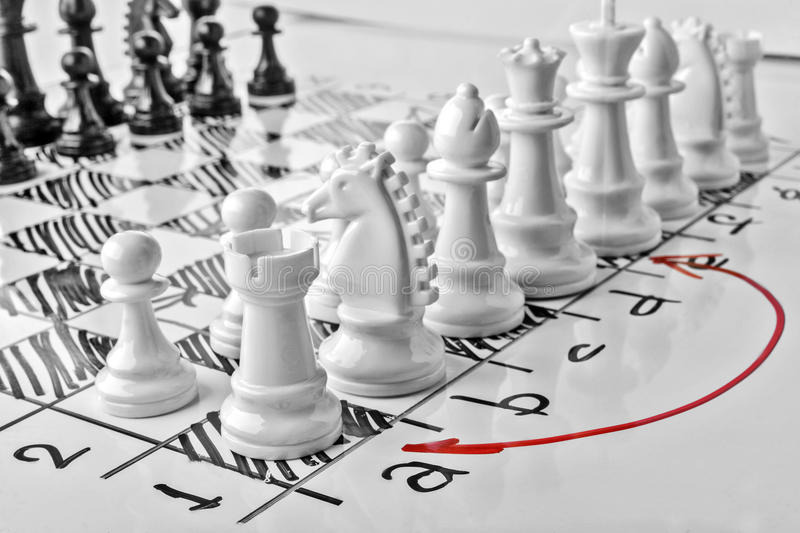 Chess, castling queenside or long castling. White board with chess figures on it. Plan of battle royalty free stock image