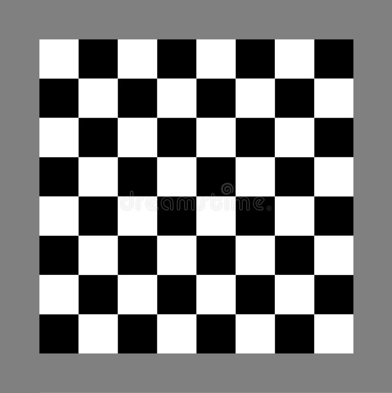 Chess or checkers board. Black and white chess or checkers board isolated on gray background royalty free illustration