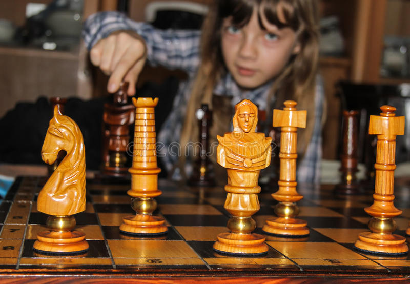 Chess and child stock photos