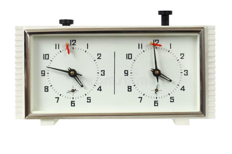 Chess clock on white stock photos