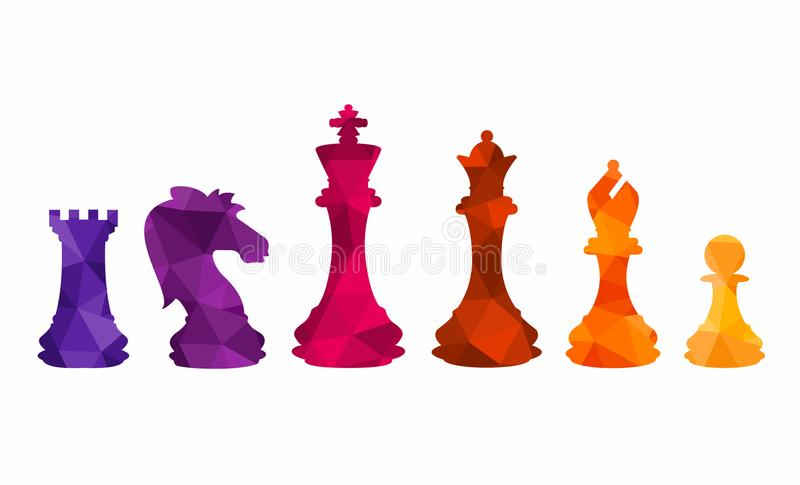 Chess colorful figures pieces tournament game vector illustration royalty free illustration