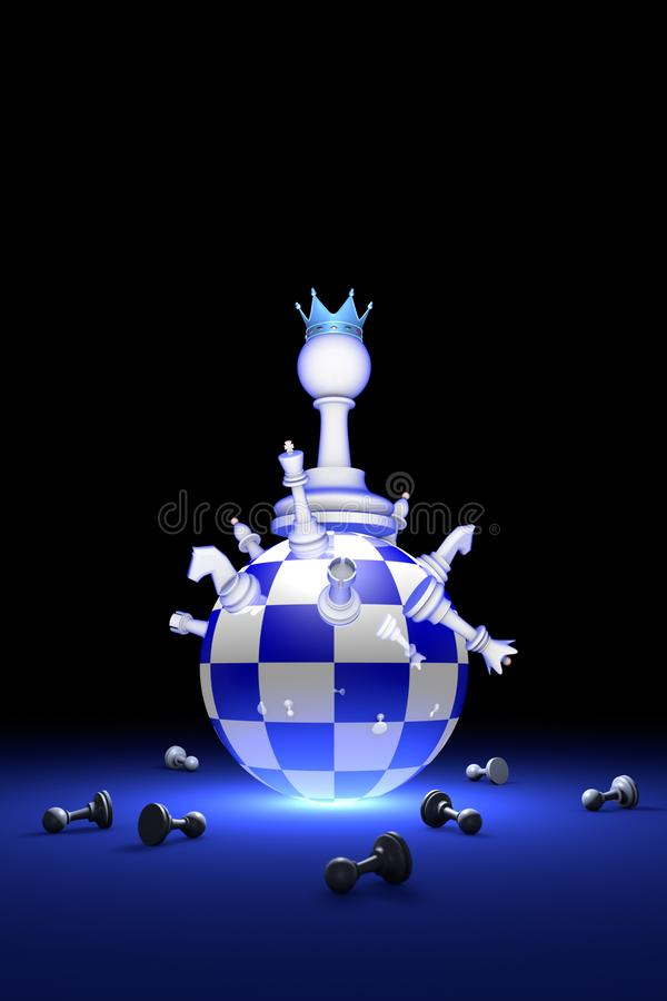 The new ruler. Elite Society chess metaphor. 3D render illustr. Chess composition. Big changes. The new ruler. Available in high-resolution and several sizes to vector illustration