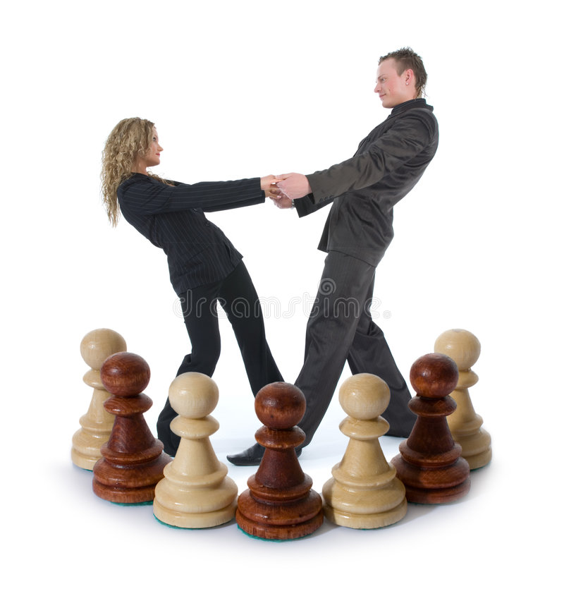 Chess composition with girl and man royalty free stock images
