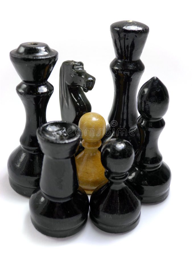 Chess confrontation. Represents concept of confrontation, face-off, opposition etc stock images