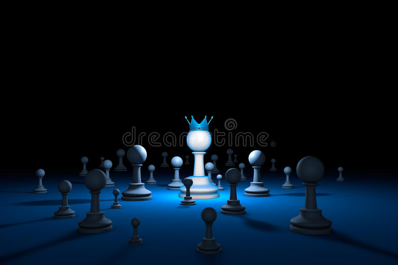 Chess country. Leader chess metaphor. 3D render illustration. royalty free stock photography