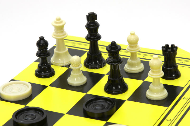Chess and drafts. Game - chess and drafts. Table games for travel isolated on white background stock photo