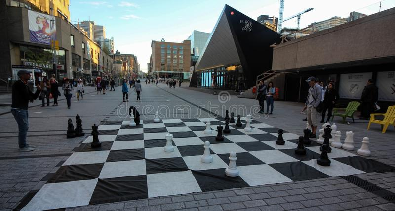 A chess exhibition to celebrate Montreal`s 350th anniversary stock photography