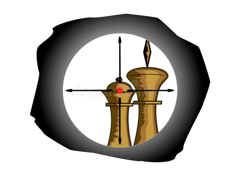 Chess figure at the crosshair. Vector illustration of chess figure at the crosshair royalty free illustration