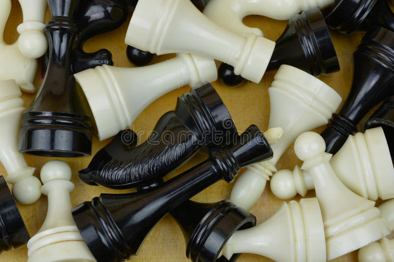Chess figures in wood box. Play chess. Chess figures from bone material. White and black figures stock photo